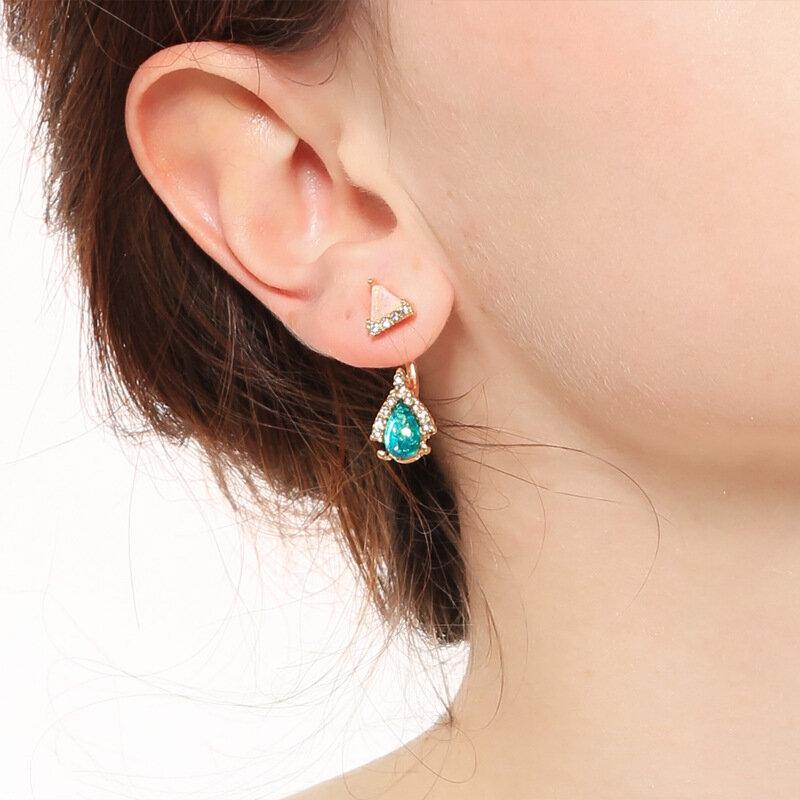 Classic Drop Gem Stone Pendant Earrings Geometric Triangle Jacket Earrings Piercing Stud Earrings