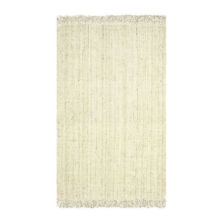 nuLoom Hand Woven Chunky Loop Jute Rug, One Size , White