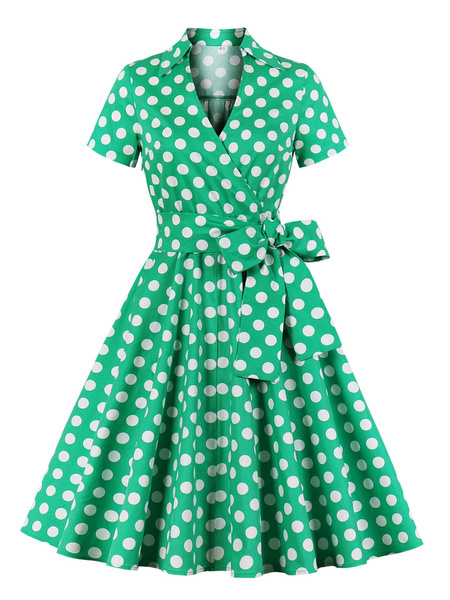 Milanoo Vintage Dress 1950s V-Neck Lace Up Layered Short Sleeves Green Knee Length Polka Dot Bows Fit And Flare Dress