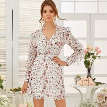 Ruffle Trim Keyhole Back Floral Chiffon Dress