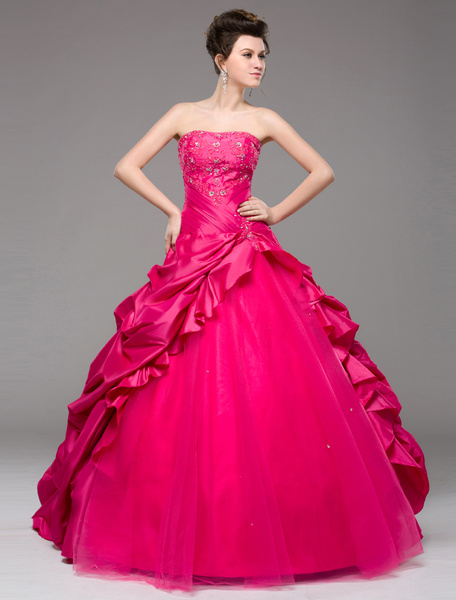Milanoo Ball Gown Prom Dress Hot Pink Taffeta Strapless Occasion Dress Beading Ruffle Floor Length Pageant Dress