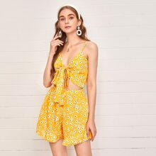 Tie Front Cut-out Ruffle Hem Ditsy Floral Cami Romper