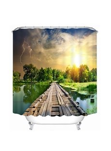 The Wooden Bridge on the Lake 3D Printed Bathroom Waterproof Shower Curtain