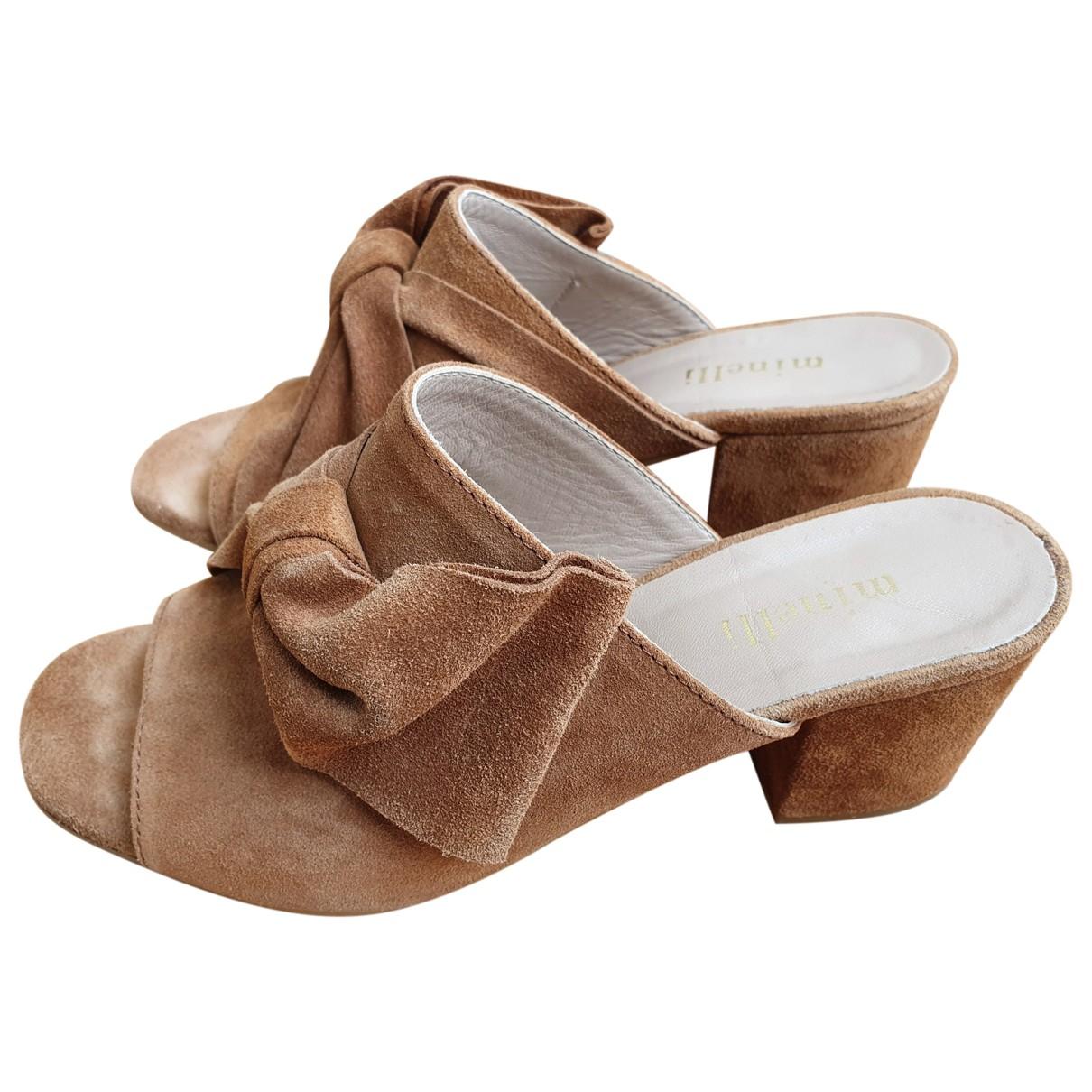 Minelli - Sandales   pour femme en cuir - camel