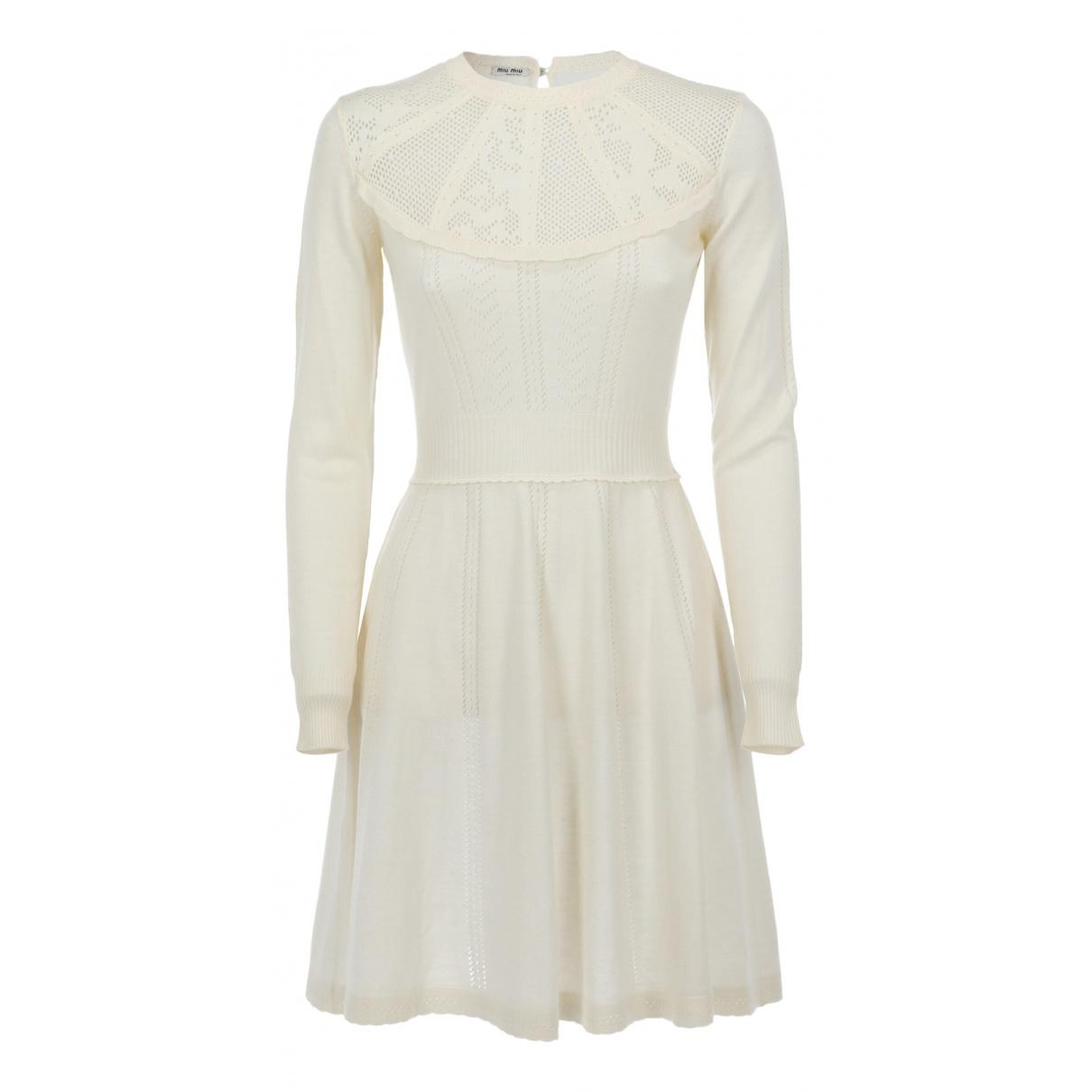 Miu Miu \N Kleid in  Ecru Baumwolle