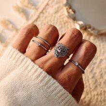 4 piezas anillo con diseño de animal con abertura