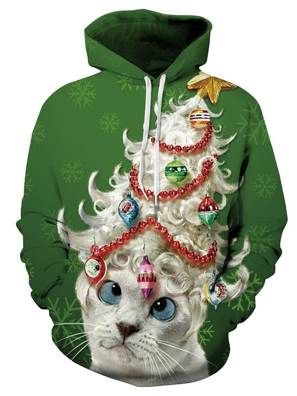 Creative 3D Christmas Cat Printing Sports Unisex Pullover Hoodies Fashion Sweatshirt Sportswear