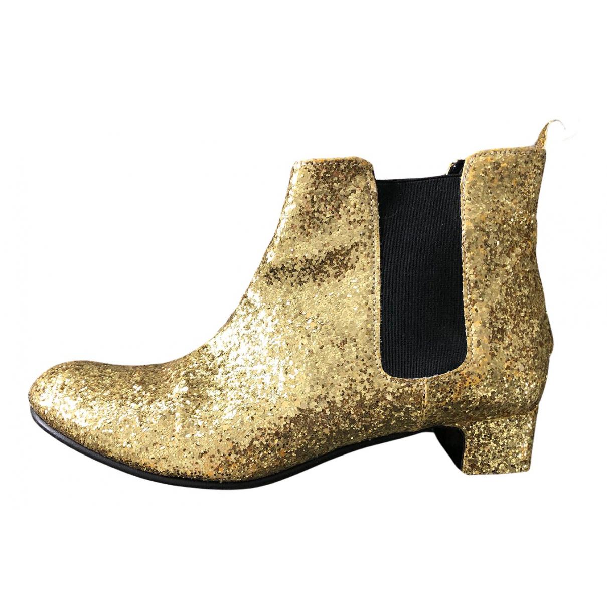 Non Signe / Unsigned \N Stiefeletten in  Gold Mit Pailletten