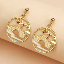 Landscape Decor Round Drop Earrings