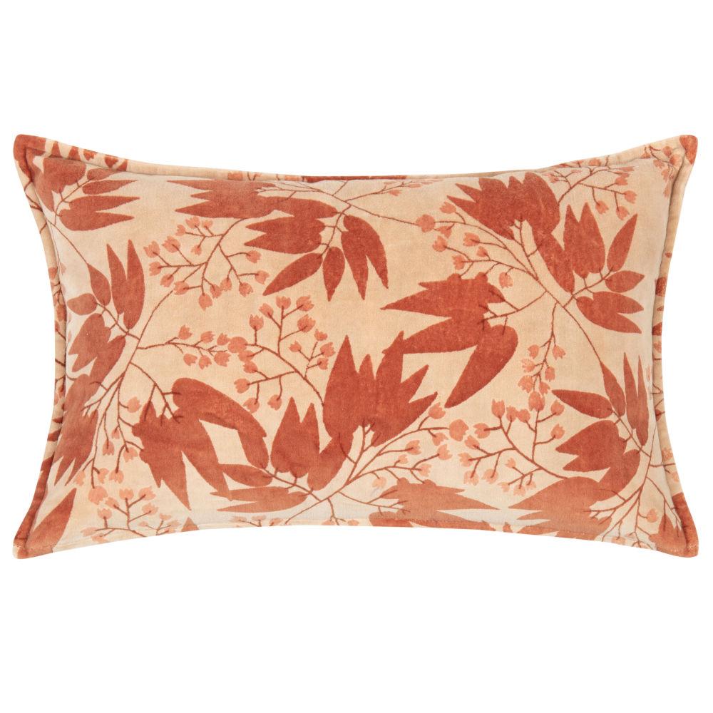 Kissenbezug aus Baumwolle, rosa, mit aufgedrucktem rotem Blattmotiv 50x30