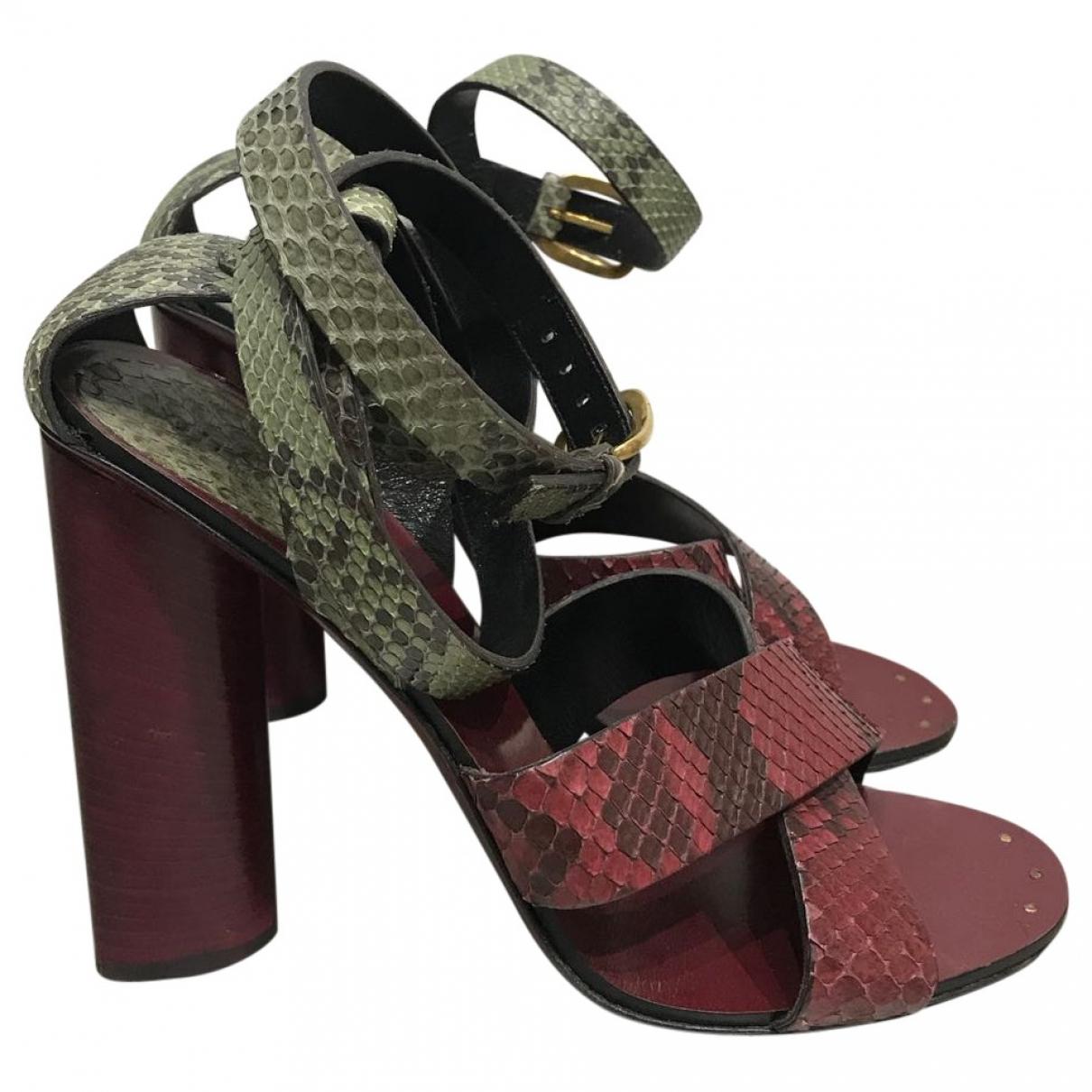 Gucci - Sandales   pour femme en python - rouge