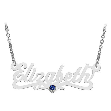 Personalized Birthstone and Name Necklace, One Size , White