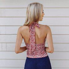 Top mit Band hinten, Gaensebluemchen Muster und Neckholder