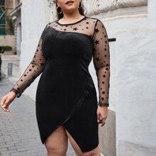 Plus Flocked Star Mesh Yoke & Sleeve Bodycon Velvet Dress
