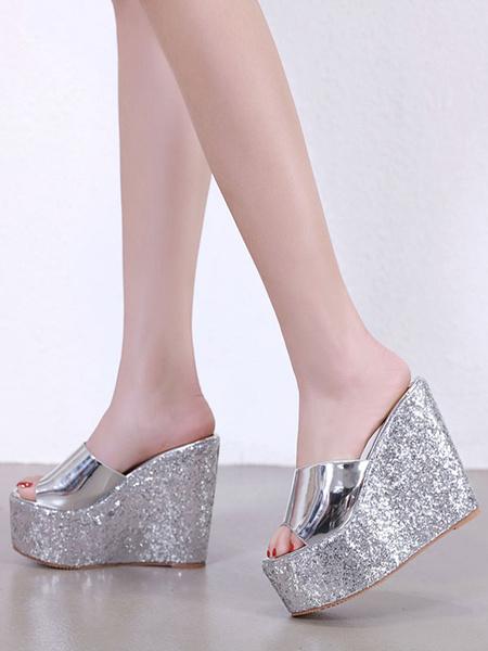 Milanoo Women\'s Wedge Heel Sandals Glitter Peep Toe Sequined Slides Shoes