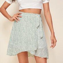 Ditsy Floral Print Self Tie Wrap Skirt