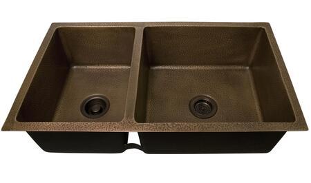 KSCDB3504-AC Sonora 37 Copper Double Bowl Undermount Kitchen Sink