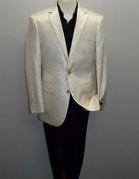 Men's One Ticket Pocket Single Breasted Shiny Silky Cream Blazer