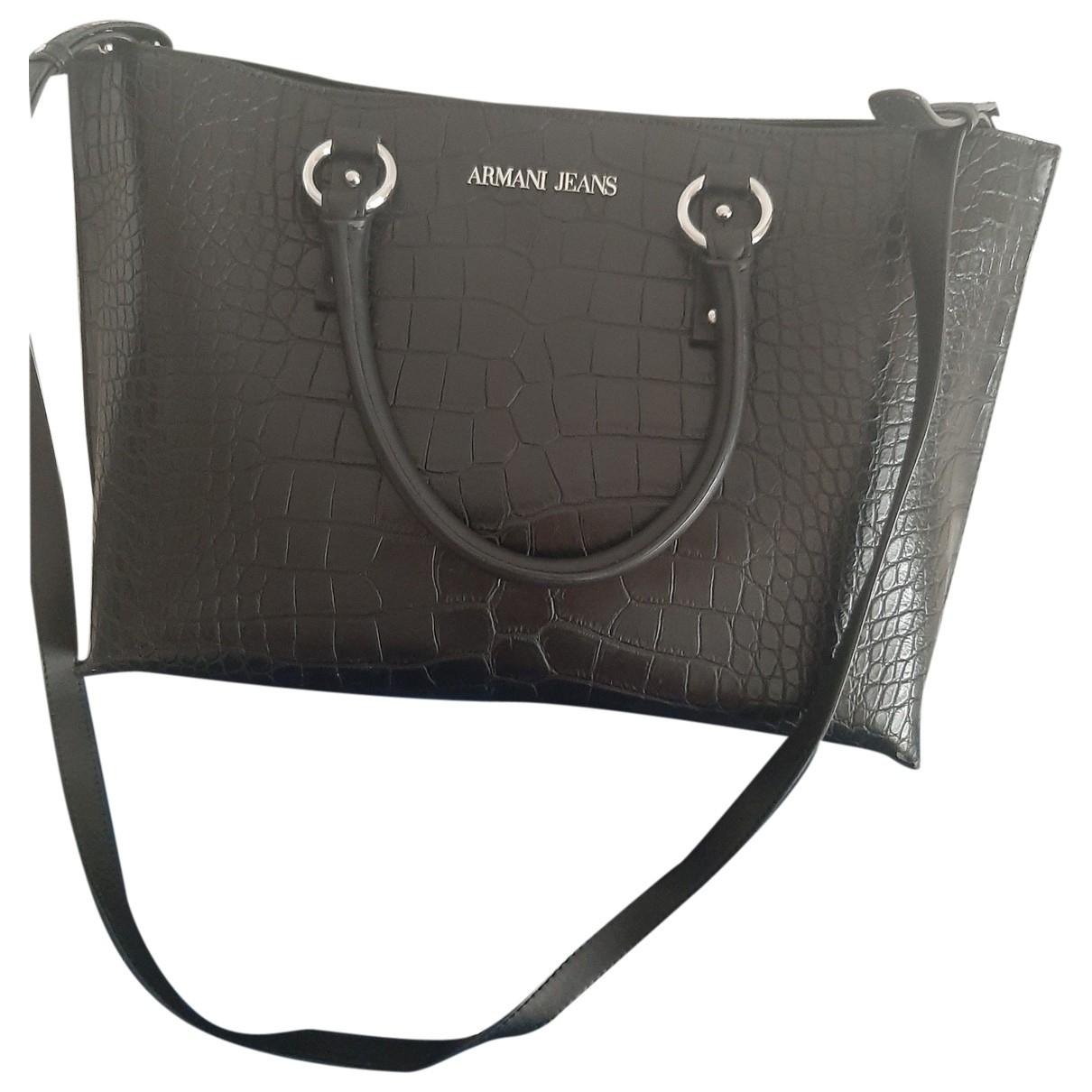Armani Jeans \N Black Leather handbag for Women \N