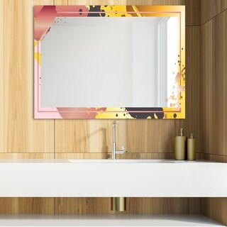 Designart 'Gold and Pink Frame 8' Glam Mirror - Modern Vanity Mirror (39.4 in. wide x 29.5 in. high)