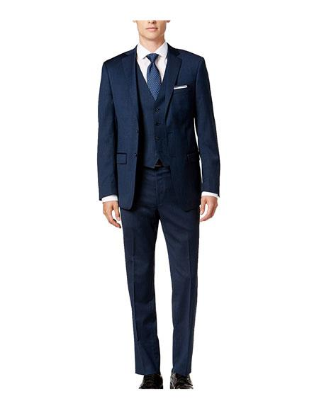 Caravelli Mens Piece 1Breasted Slim Fit Button Blue Vested Suit Set