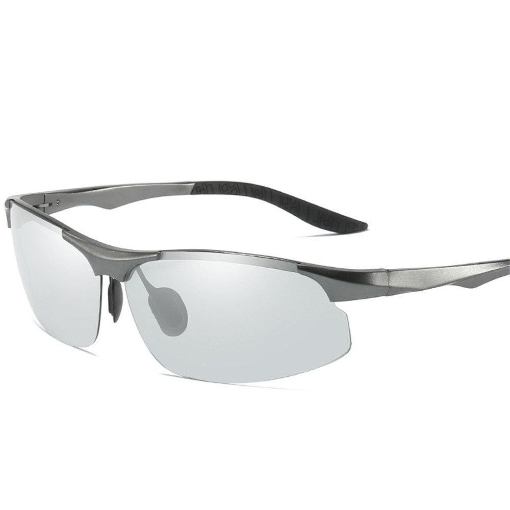 Men Light Aluminum Mg Frame Spring LegsAll-Weather Turn Colors Polarized Sunglasses