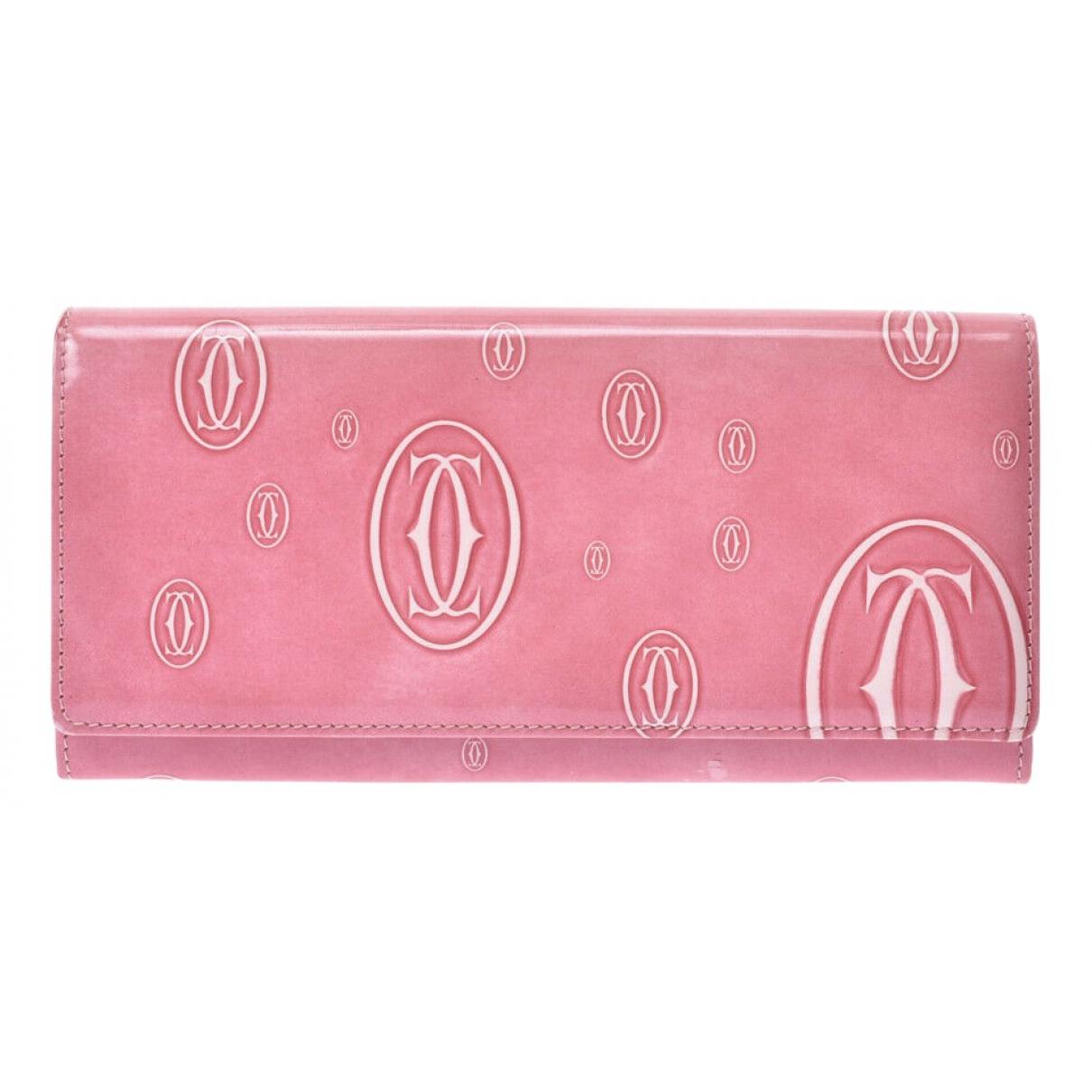 Cartier - Portefeuille   pour femme en cuir verni - rose