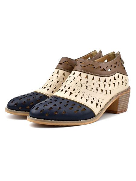 Milanoo Black Summer Boots Women Pointed Toe Color Block Short Boots