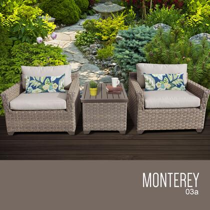 MONTEREY-03a-BEIGE Monterey 3 Piece Outdoor Wicker Patio Furniture Set 03a with 2 Covers: Beige and
