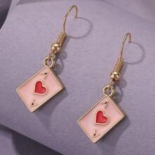 Heart Pattern Rectangle Drop Earrings
