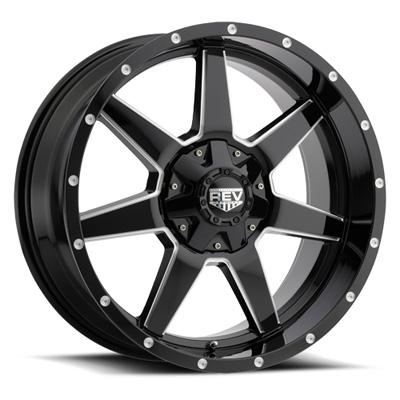 875 REV 17x9 6x139.7 / 6x135 -12MM Gloss Black and Milled Milled Aluminum Wheels 875 Offroad REV Series REV Wheels 875M-7903512
