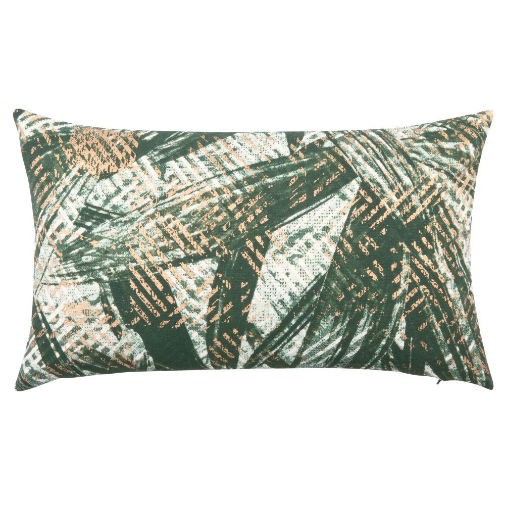 Kissenbezug aus Baumwolle, gruen mit aufgedrucktem Blattmotiv 50x30