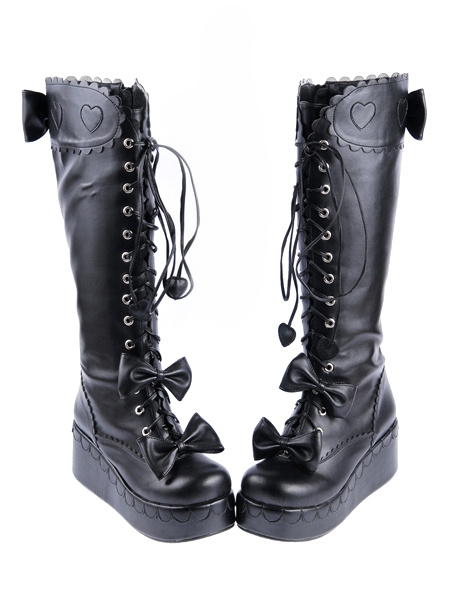 Milanoo Sweet Black PU Leather Front Lace Up Bow Lolita Boots
