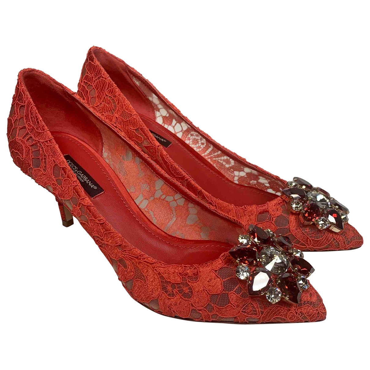 Dolce & Gabbana - Escarpins Taormina pour femme en toile - rouge
