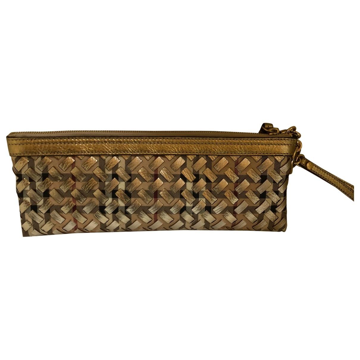 Burberry - Pochette   pour femme en cuir - dore