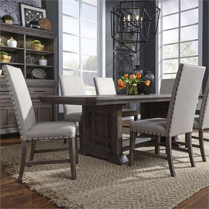 Artisan Prairie Collection 823-DR-7TRS 7PC Trestle Table Set with One 18 Inch Self Storing leaf  Tapered Legs with Canted Corners and Planked Top in