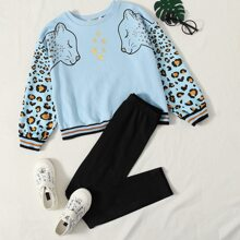Girls Leopard and Star Print Striped Trim Pullover and Leggings Set
