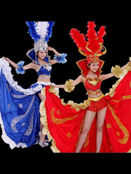 Milanoo Flamenco Girls Blue Open Billowing laciness Dancing Skirt Adults Spanish Dancer Ballroom Dress Paso Doble Costumes Halloween