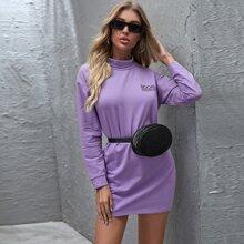 Kleid mit Stehkragen und Buchstaben Grafik ohne Tasche