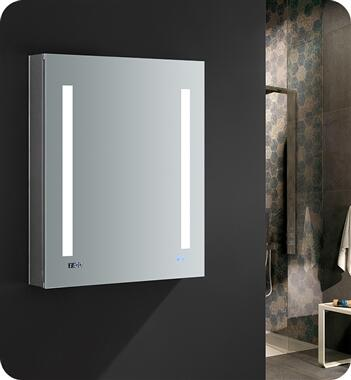 FMC012430-L Tiempo 24 Wide x 30 Tall Bathroom Medicine Cabinet with LED Lighting and Defogger  in