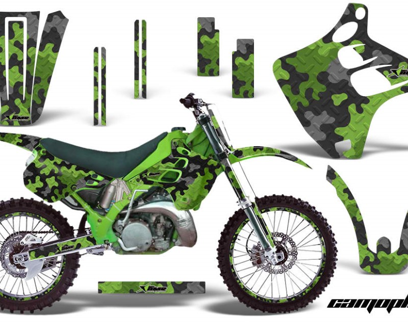 AMR Racing Graphics MX-NP-KAW-KX125-KX250-92-93-CP G Kit Decal Wrap + # Plates For Kawasaki KX125 | KX250 1992-1993 CAMOPLATE GREEN