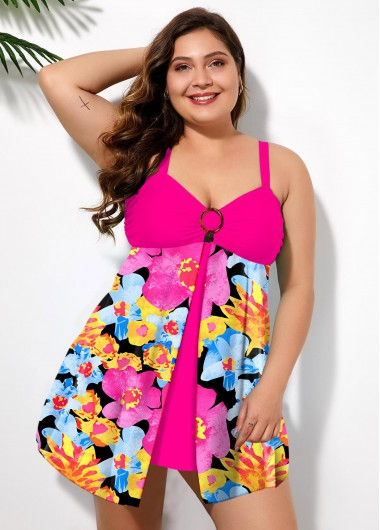 Floral Print Front Slit Plus Size Swimwear Top - 2X