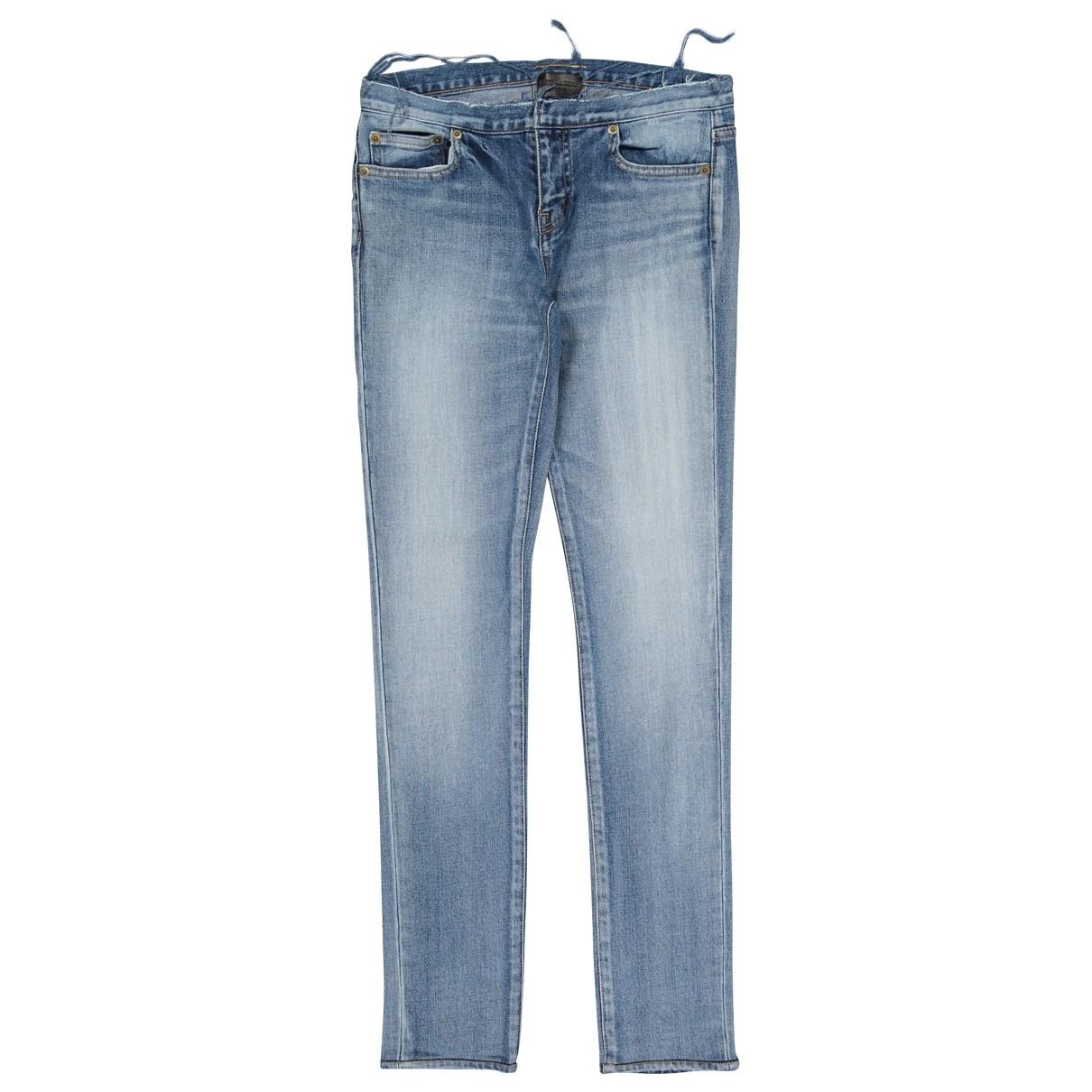 Saint Laurent - Jean   pour femme en coton - elasthane - bleu