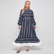 Plus Lantern Sleeve Contrast Ruffle Hem Striped Dress