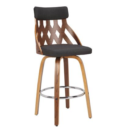 Gardenia Collection B26-YRKWL+CHAR Counter Height Stool with Round Metal Footrest  Mid-Century Modern Style and Fabric Upholstery in Charcoal