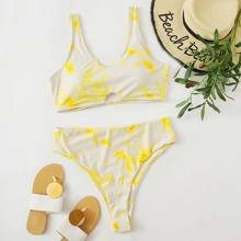 Bikini Badeanzug mit Batik und Ausschnitt