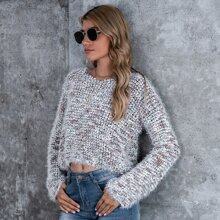 Fuzzy Knit Drop Shoulder Sweater