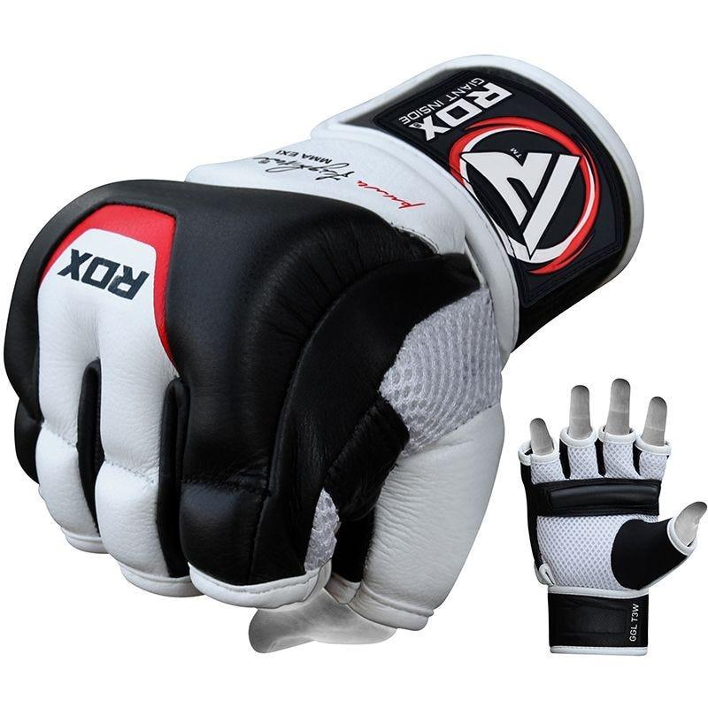 RDX T3 MMA Gants D'entrainement Moyenne Blanc noir Cuir