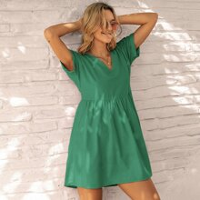Solid Batwing Sleeve Smock Dress
