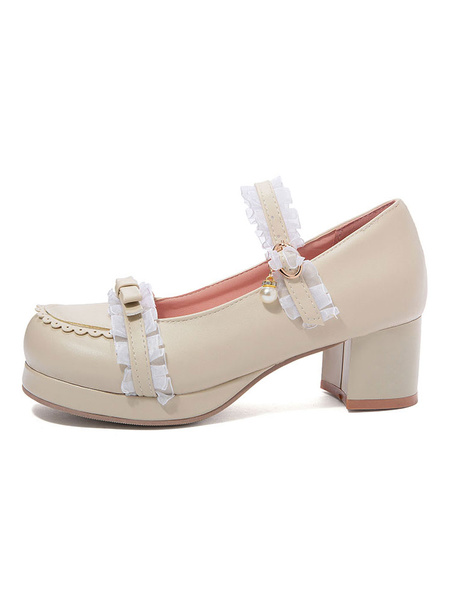 Milanoo Sweet Lolita Shoes Lace Pearl Bow Round Toe PU Leather Lolita Pumps